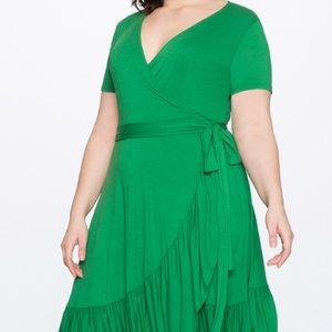 Eloquii green wrap dress